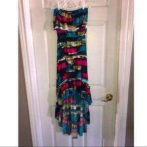 Multi colour maxi strapless dress